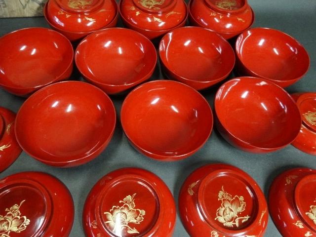 【広吉堂】菓子椀 漆器 木製 蒔絵 時代物 木箱付き 美品 10客A_画像6