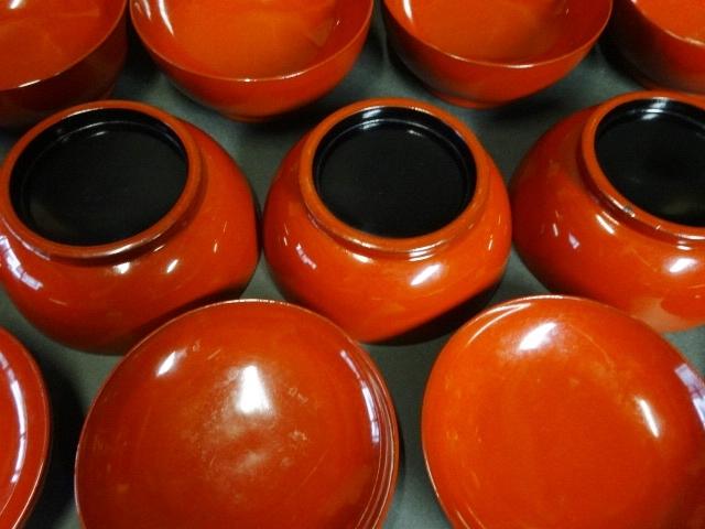 【広吉堂】菓子椀 漆器 木製 蒔絵 時代物 木箱付き 美品 10客A_画像8