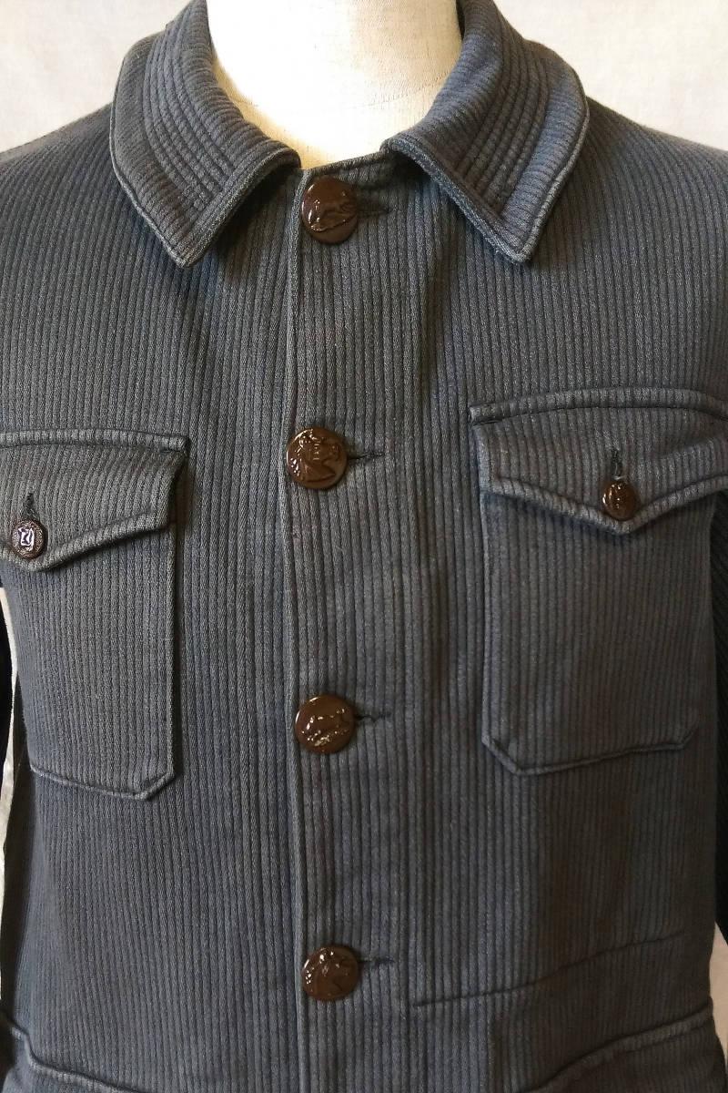 フレンチ ビンテージ ピケ ハンティングジャケット フランス古着 アンティーク 動物ボタン_画像8
