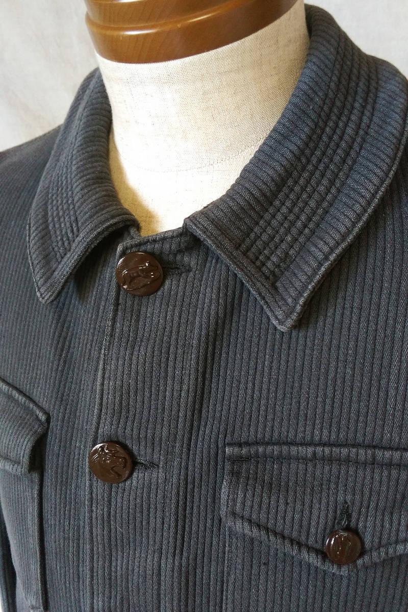 フレンチ ビンテージ ピケ ハンティングジャケット フランス古着 アンティーク 動物ボタン_画像7