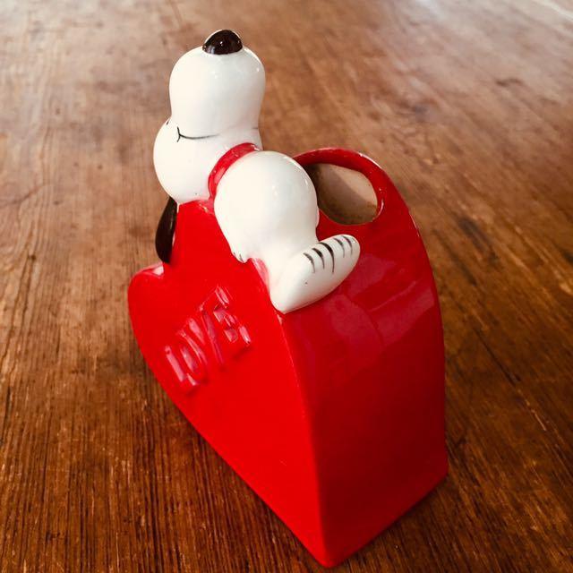 1970's ビンテージ スヌーピー日本未発売 ピーナッツ レトロ ハート ブラシ立て 花瓶 ハート_画像4