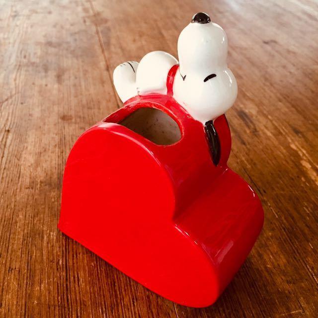 1970's ビンテージ スヌーピー日本未発売 ピーナッツ レトロ ハート ブラシ立て 花瓶 ハート_画像3