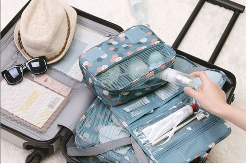 スッキリ収納できる★トラベルポーチ 旅行バッグ コンパクトサイズ 化粧ポーチ コスメポーチ ハンガーフック付き バッグインバッグ_画像9
