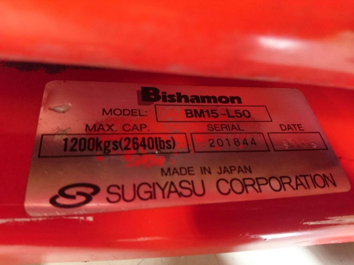 【10271083】スギヤス ビシャモン ハンドパレット BM15-L50 使用能力1200kg/1.2t ツメ長約800mm ハンドリフト 物流 運搬 管)j0715-2-2500_画像10