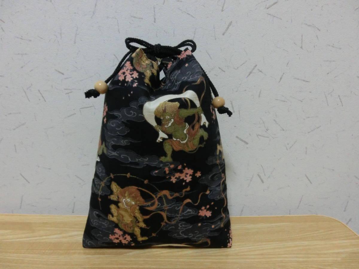 ☆信玄袋(風神雷神)黒 ★手作り巾着(祭り に)★ 28×22cmハンドメイド☆s419