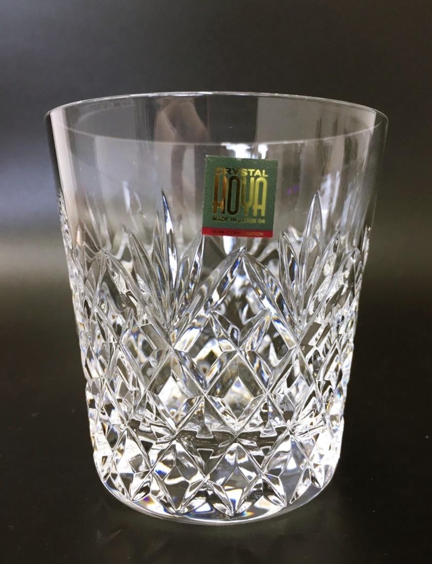 未使用 HOYA ホヤ CRYSTAL クリスタル ロックグラス クリスタルグラス カットガラス オールドファッションドグラス 箱入り_画像3