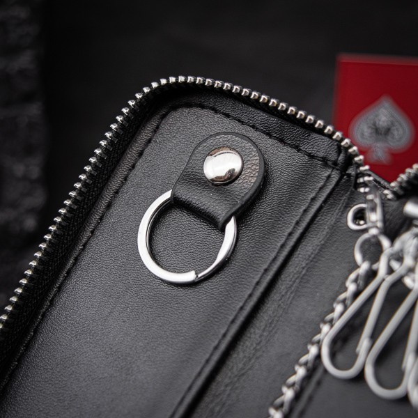 [ real leather made : key case ] new goods unused free shipping original leather 1 jpy leather men's gentleman key case round fastener black black business high capacity