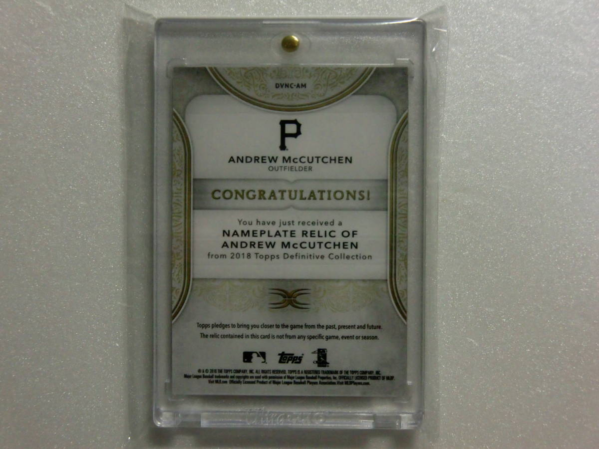 2018.18.TOPPS.Definitive.Pittsburgh Pirates.ANDREW McCUTCHEN.GAME-USED.NAMEPLATE PATCH.1OF1.1枚限定.DVNC-AM.スーパーパッチ_画像2