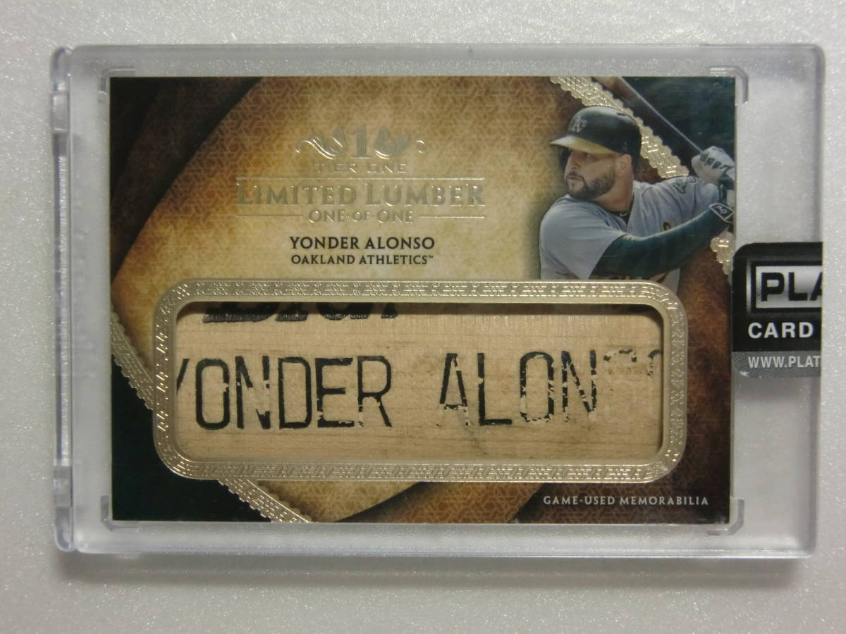 2017.17.TOPPS.TIER ONE.Oakland Athletics.Yonder Alonso.GAME-USED.BAT NAMEPLATE.1OF1.1枚限定.T1LL-YA.ネームプレート.アロンソ_画像1