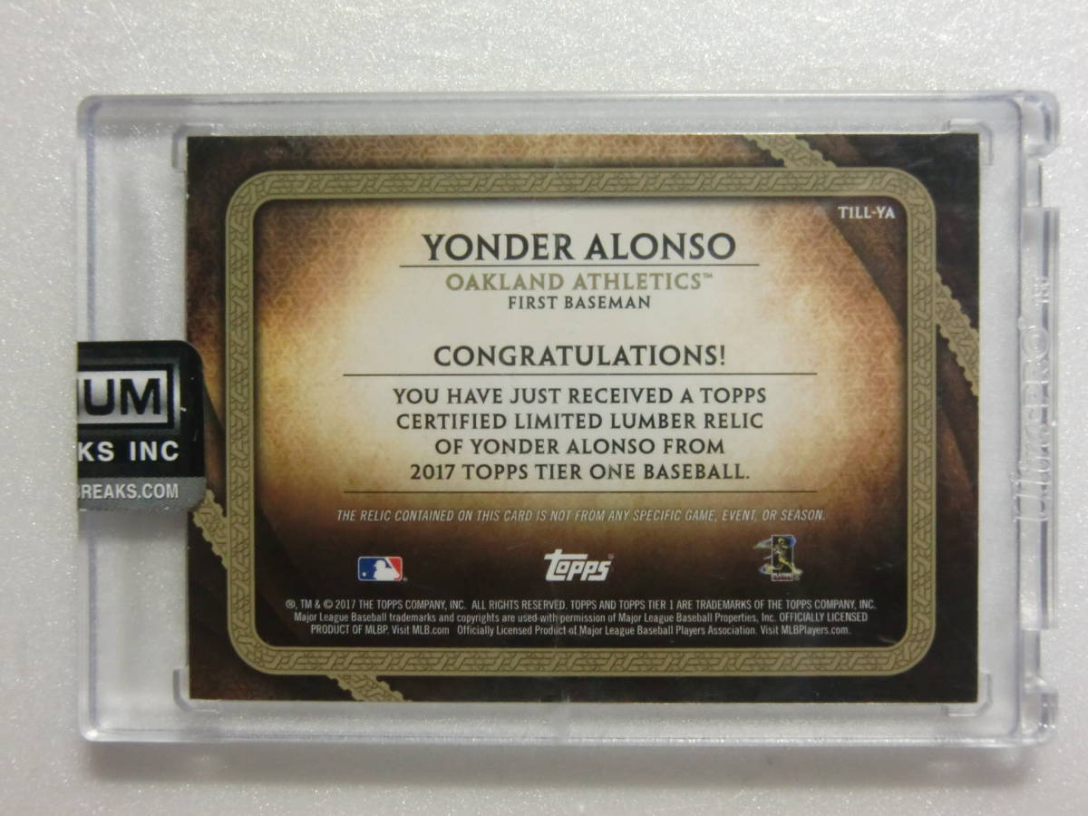2017.17.TOPPS.TIER ONE.Oakland Athletics.Yonder Alonso.GAME-USED.BAT NAMEPLATE.1OF1.1枚限定.T1LL-YA.ネームプレート.アロンソ_画像2