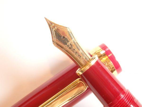 プラチナ万年筆 廃盤品 3776バランス 赤 ペン先:14K 細 ペン芯:エボナイト製 送料:箱不要なら200円(追跡可能)_画像3