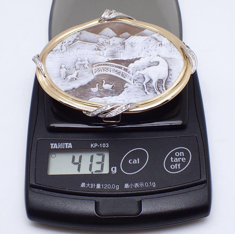 【Filippo Garofalo(フィリッポ ガロファロ)】カメオ ブローチペンダント メレダイヤ 0.2ct K18/Pt900 41.3g 【新品仕上げ済】EI3_画像10