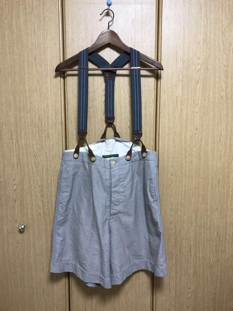 希少 美品 ポールハーデン paul harnden サスペンダー パンツ S ウール 薄手 グレー 部分的にストライプ ボトムス バーフパンツ ショーツ