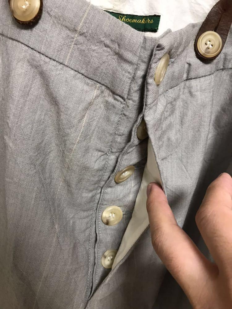 希少 美品 ポールハーデン paul harnden サスペンダー パンツ S ウール 薄手 グレー 部分的にストライプ ボトムス バーフパンツ ショーツ_画像4