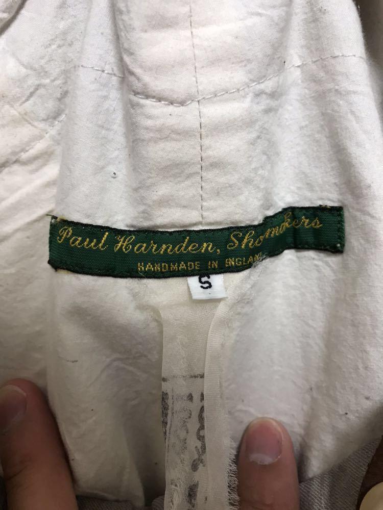 希少 美品 ポールハーデン paul harnden サスペンダー パンツ S ウール 薄手 グレー 部分的にストライプ ボトムス バーフパンツ ショーツ_画像5