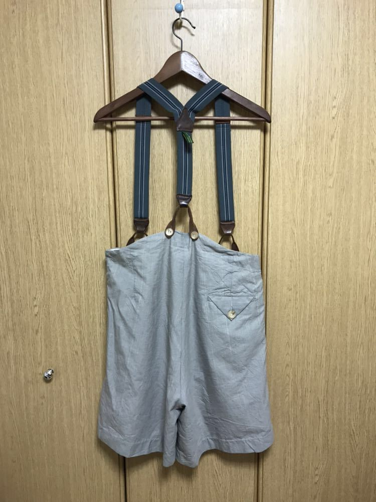 希少 美品 ポールハーデン paul harnden サスペンダー パンツ S ウール 薄手 グレー 部分的にストライプ ボトムス バーフパンツ ショーツ_画像9