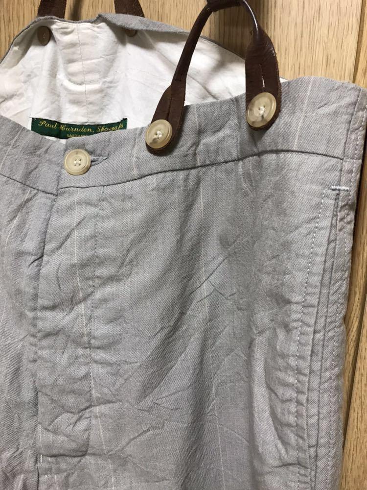 希少 美品 ポールハーデン paul harnden サスペンダー パンツ S ウール 薄手 グレー 部分的にストライプ ボトムス バーフパンツ ショーツ_画像2