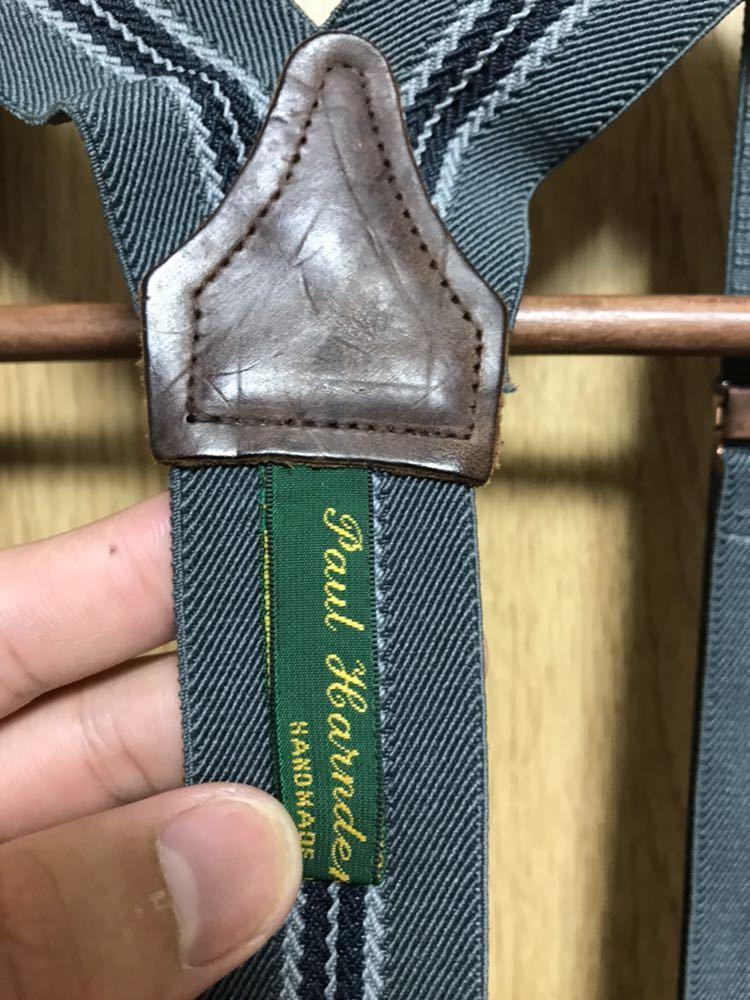 希少 美品 ポールハーデン paul harnden サスペンダー パンツ S ウール 薄手 グレー 部分的にストライプ ボトムス バーフパンツ ショーツ_画像8