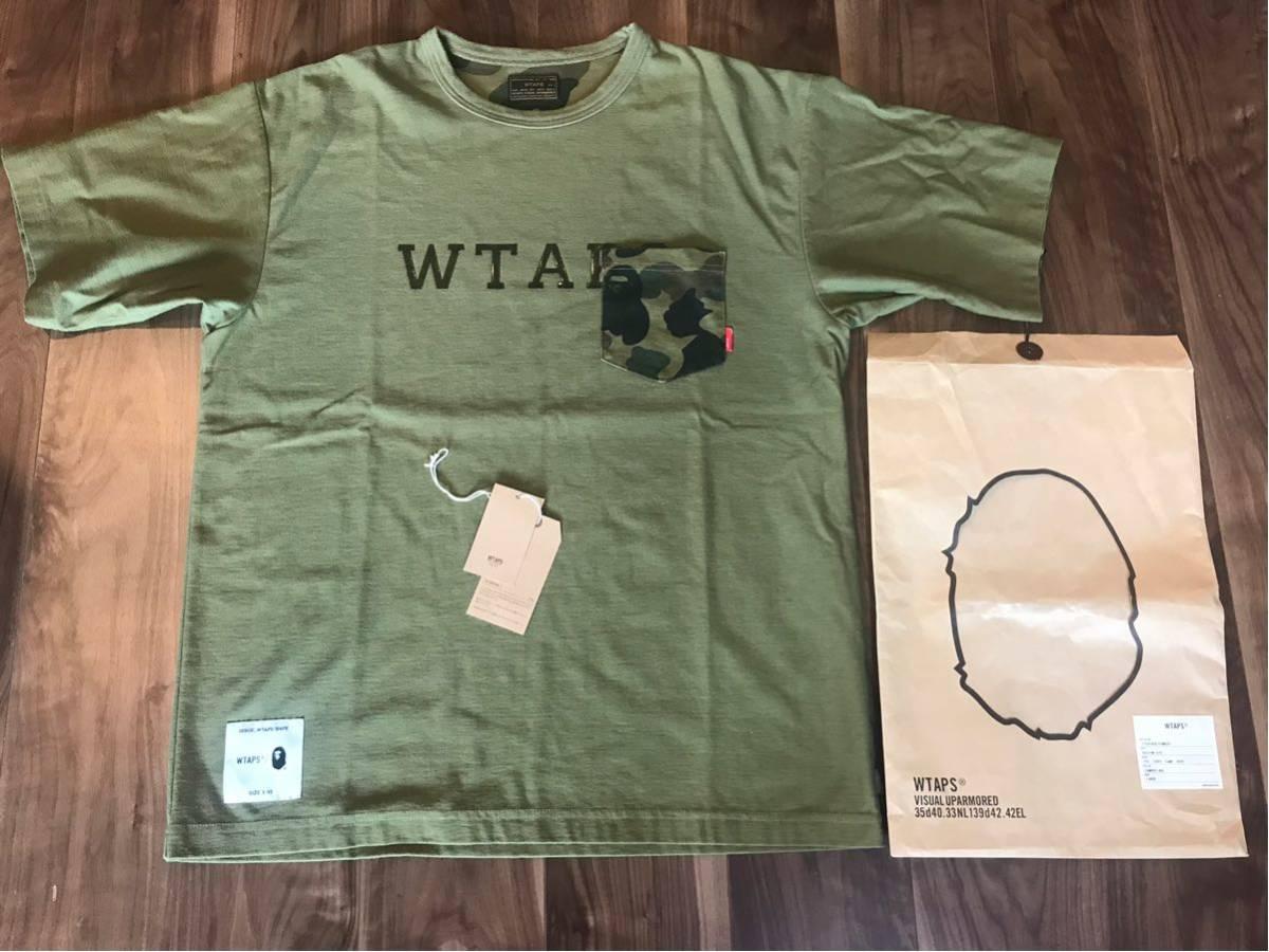 WTAPS ダブルタップス ×A BATHING APE 17AW DESIGN S/S Tシャツ オリーブ Size L 美中古
