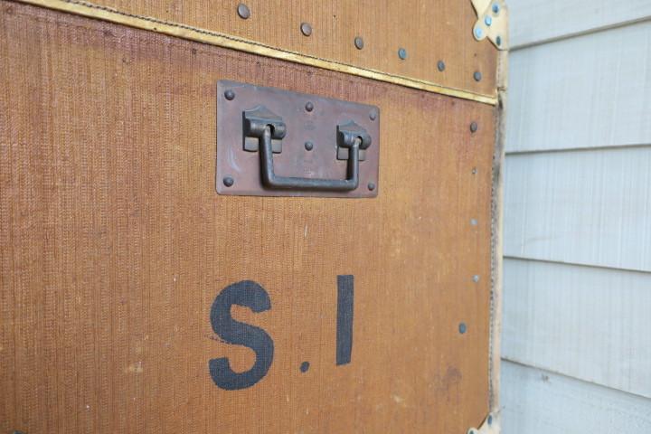 希少1200x630x630特大♪素敵な装飾♪古い船舶 アンティーク トランク☆テーブル 収納 BOX ケース 旅行鞄 ケビント 箱 飾り台 展示台 什器_画像8