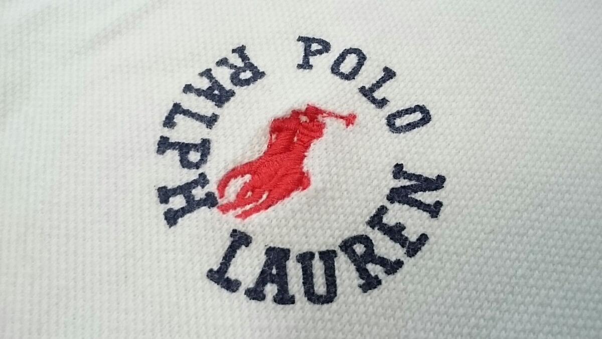 L【RALPH LAUREN SPORTS/ラルフローレン スポーツ POLO ポロ】MENS/メンズ 男性用 トップス 半袖 ポロシャツ ホワイト ロゴ used 夏服 夏物
