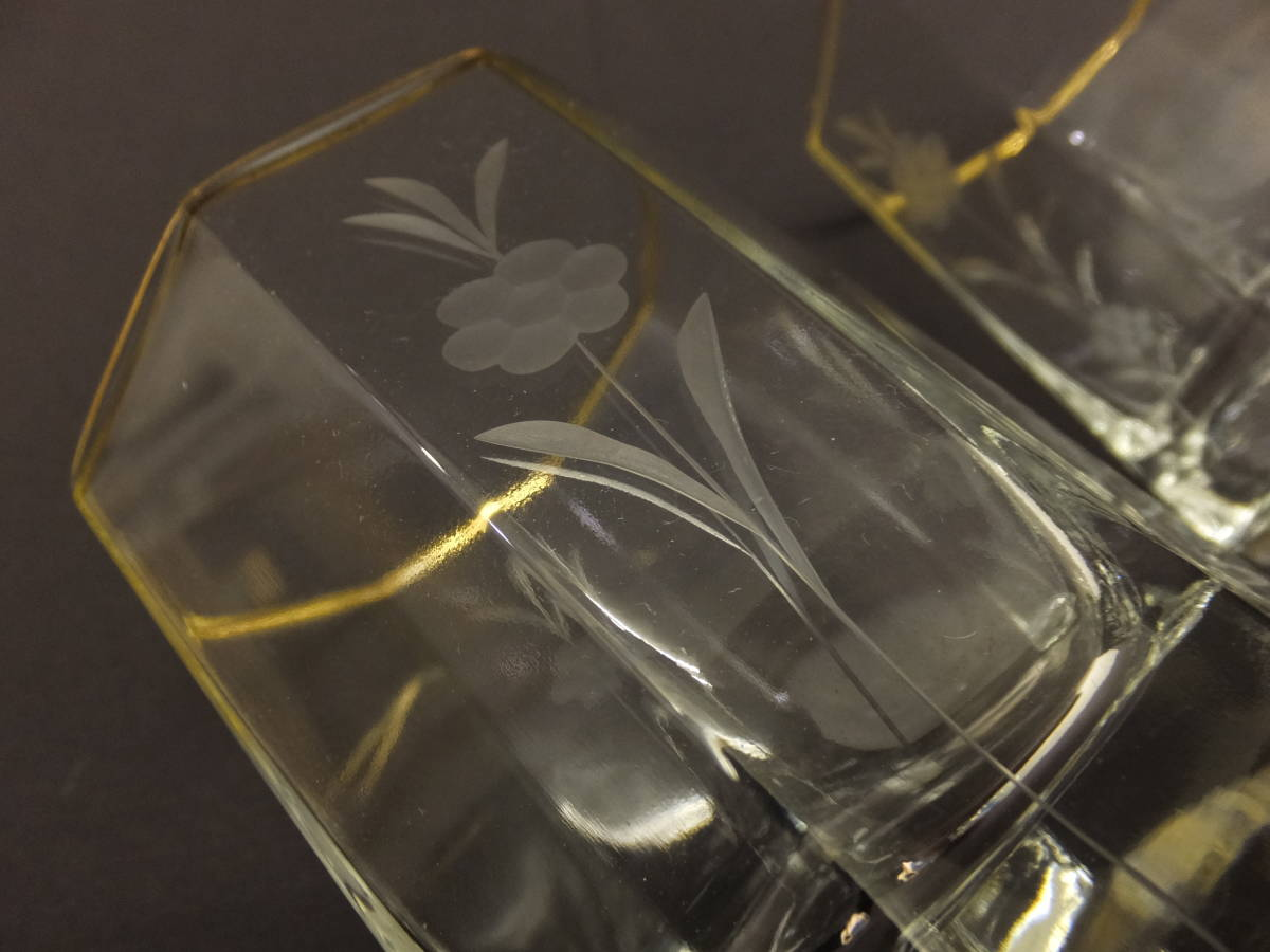 [071702] ロックグラス ウィスキーグラス 草花彫刻 2個セット MARCO AUSGEZEICHNET GESCHENK_画像8