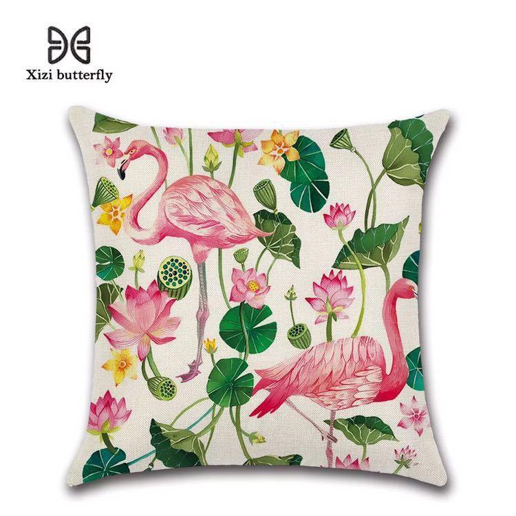 新品 クッションカバー フラミンゴ ハス 蓮の花 ロータス 45*45 雰囲気 飾り リネン インテリア