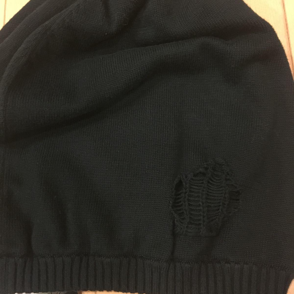 新品未使用タグ付き 13SS mastermind JAPAN DAMAGE KNIT CAP 黒 M マスターマインド ニットキャップ ニット帽 ビーニー_画像5