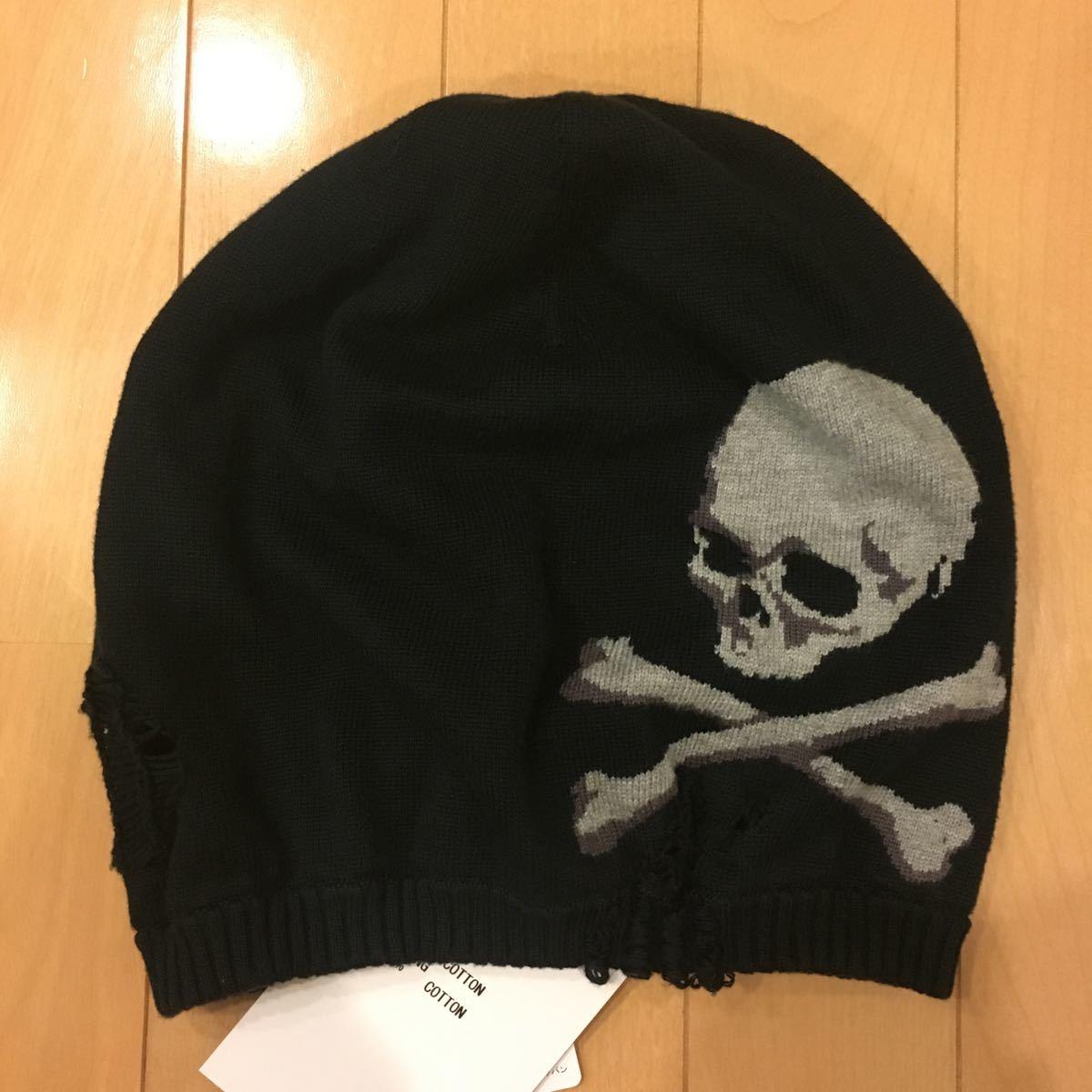 新品未使用タグ付き 13SS mastermind JAPAN DAMAGE KNIT CAP 黒 M マスターマインド ニットキャップ ニット帽 ビーニー_画像2