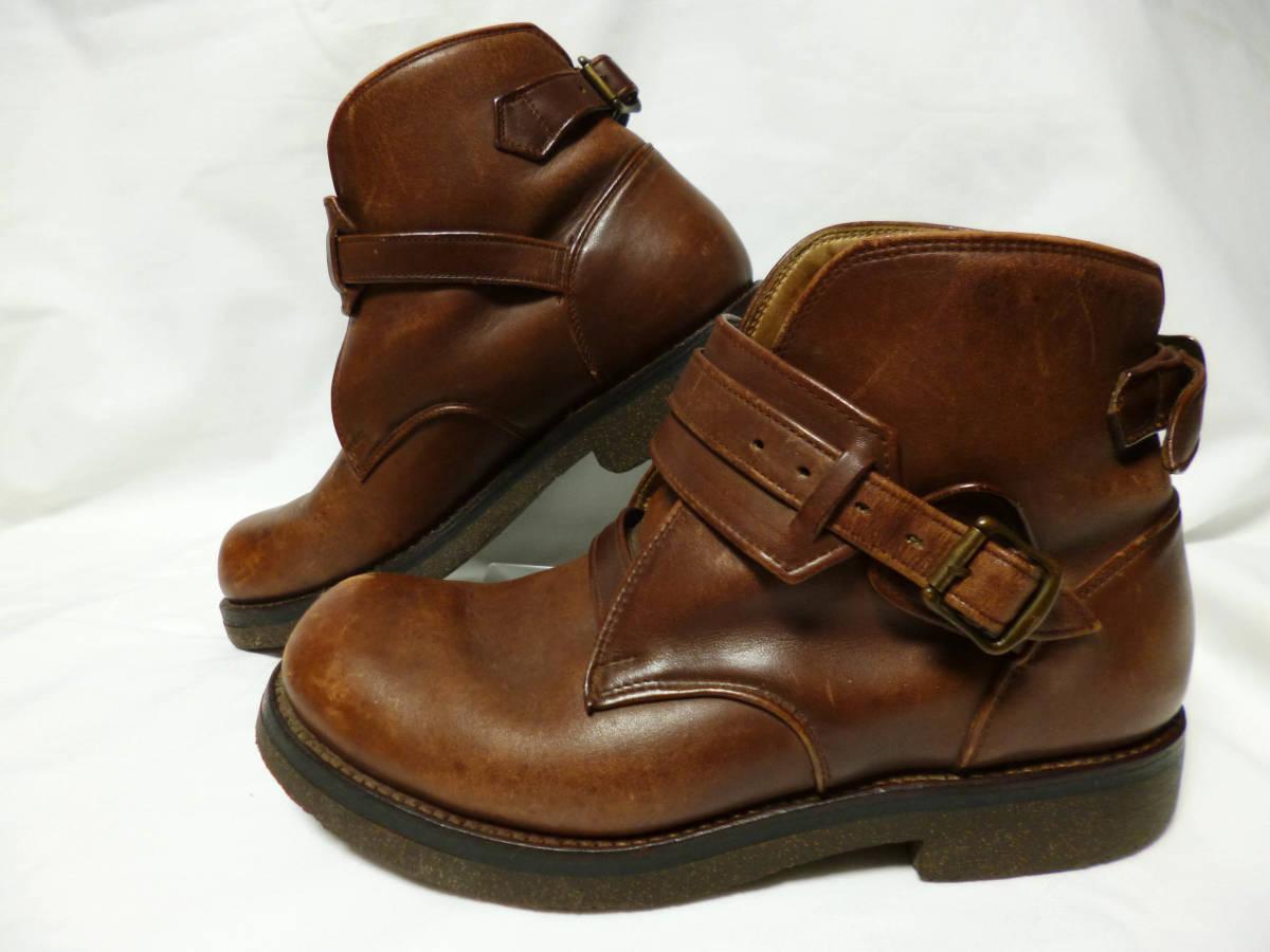 ◆ハロルズギア HAROLD'S GEAR 焦茶厚いベルトブーツ USED 25.5cm程_画像1