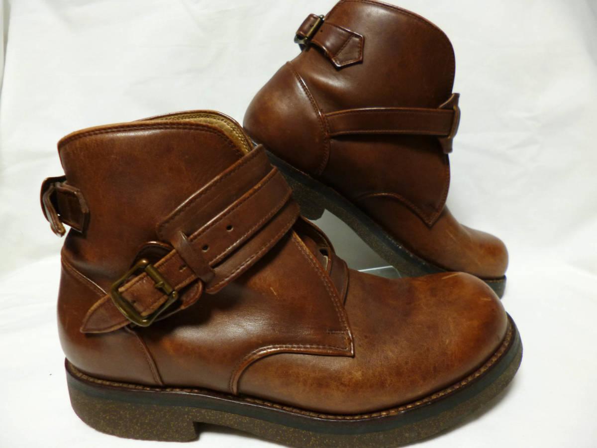 ◆ハロルズギア HAROLD'S GEAR 焦茶厚いベルトブーツ USED 25.5cm程_画像2