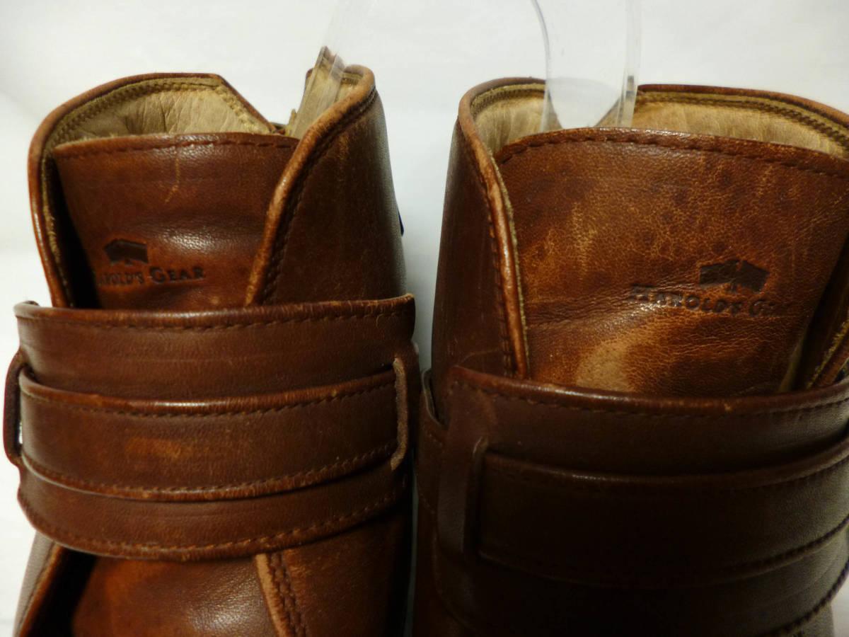 ◆ハロルズギア HAROLD'S GEAR 焦茶厚いベルトブーツ USED 25.5cm程_画像3