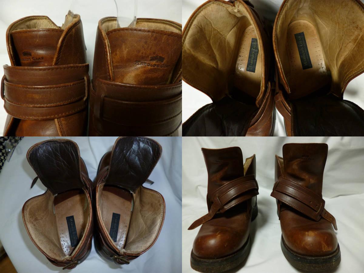 ◆ハロルズギア HAROLD'S GEAR 焦茶厚いベルトブーツ USED 25.5cm程_画像8