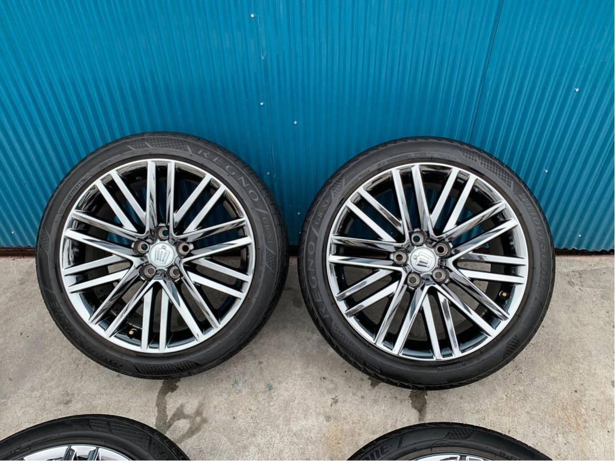 210 クラウン アスリート AWS210 GRS210 純正 オプション 18 インチ スパッタリング ホイール 4本 セット 225/45R18 BRIDGESTONE タイヤ_画像2