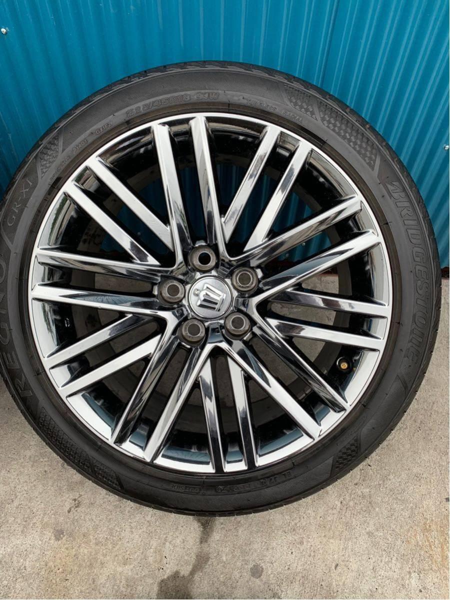 210 クラウン アスリート AWS210 GRS210 純正 オプション 18 インチ スパッタリング ホイール 4本 セット 225/45R18 BRIDGESTONE タイヤ_画像5