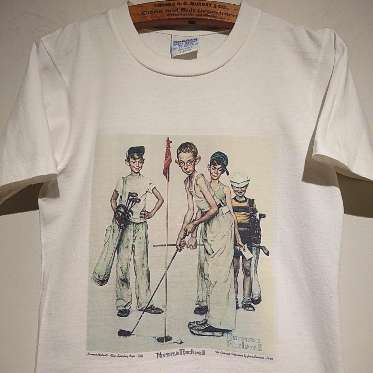 90s ビンテージ NORMAN ROCKWELL ノーマン ロックウェル Tシャツ アート t アメリカ usa 製 白 S プリント 古着_画像1