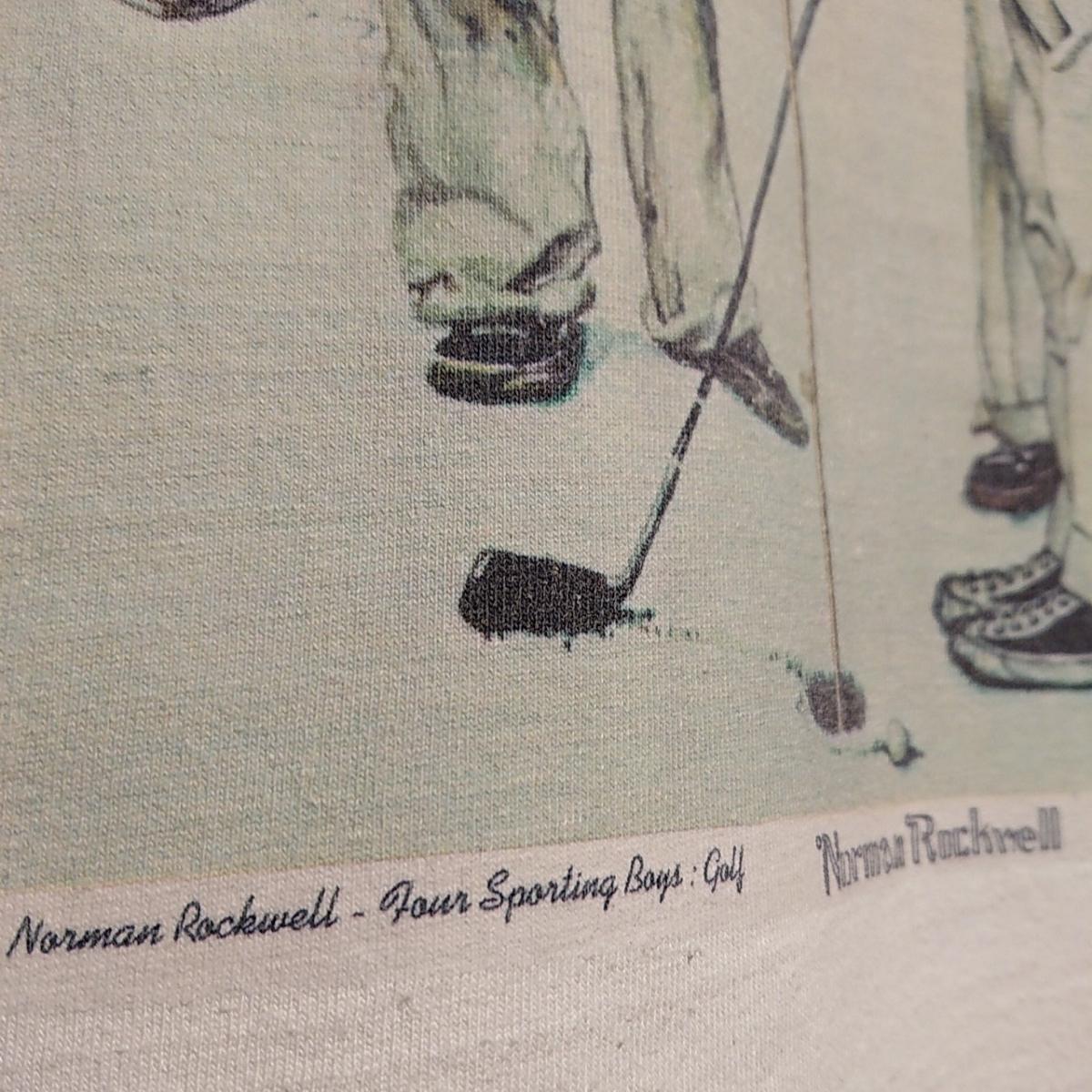 90s ビンテージ NORMAN ROCKWELL ノーマン ロックウェル Tシャツ アート t アメリカ usa 製 白 S プリント 古着_画像5