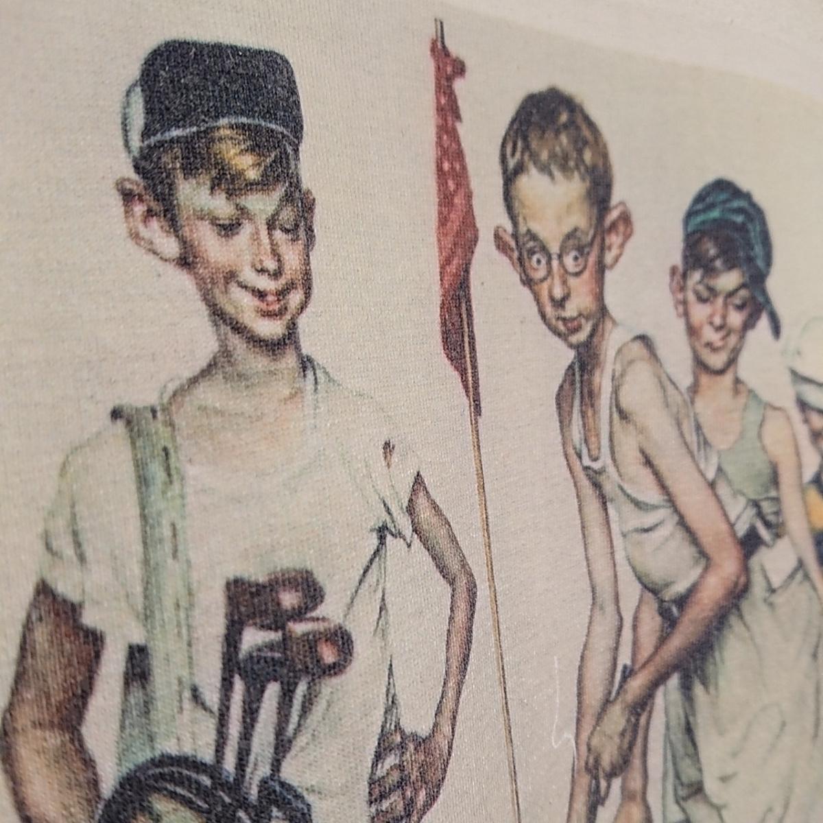 90s ビンテージ NORMAN ROCKWELL ノーマン ロックウェル Tシャツ アート t アメリカ usa 製 白 S プリント 古着_画像3
