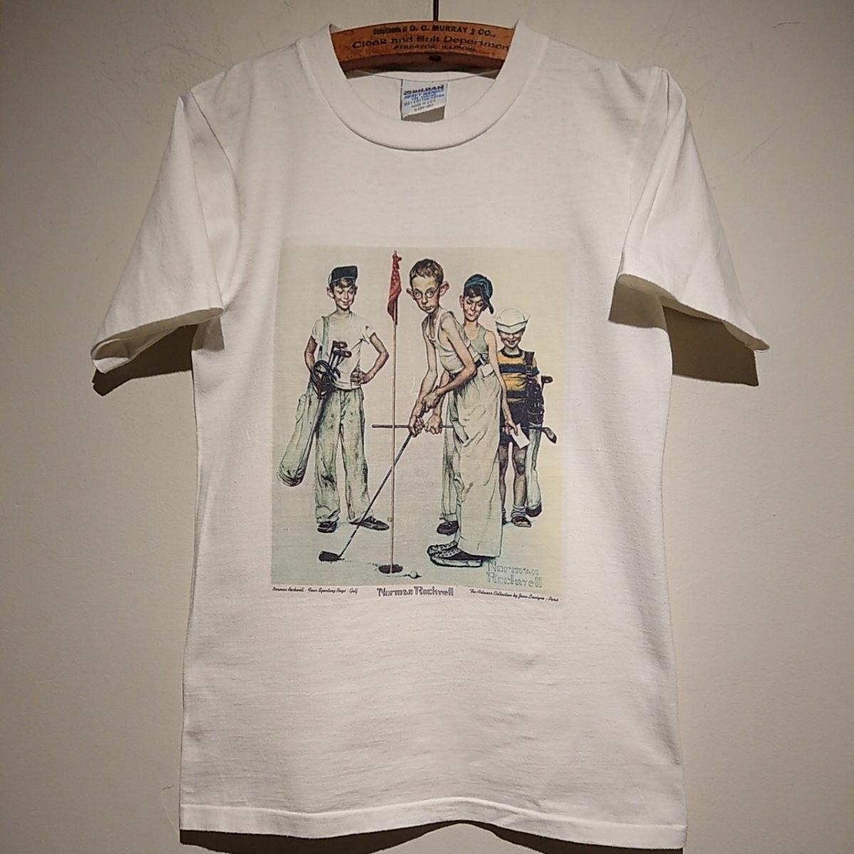 90s ビンテージ NORMAN ROCKWELL ノーマン ロックウェル Tシャツ アート t アメリカ usa 製 白 S プリント 古着_画像2