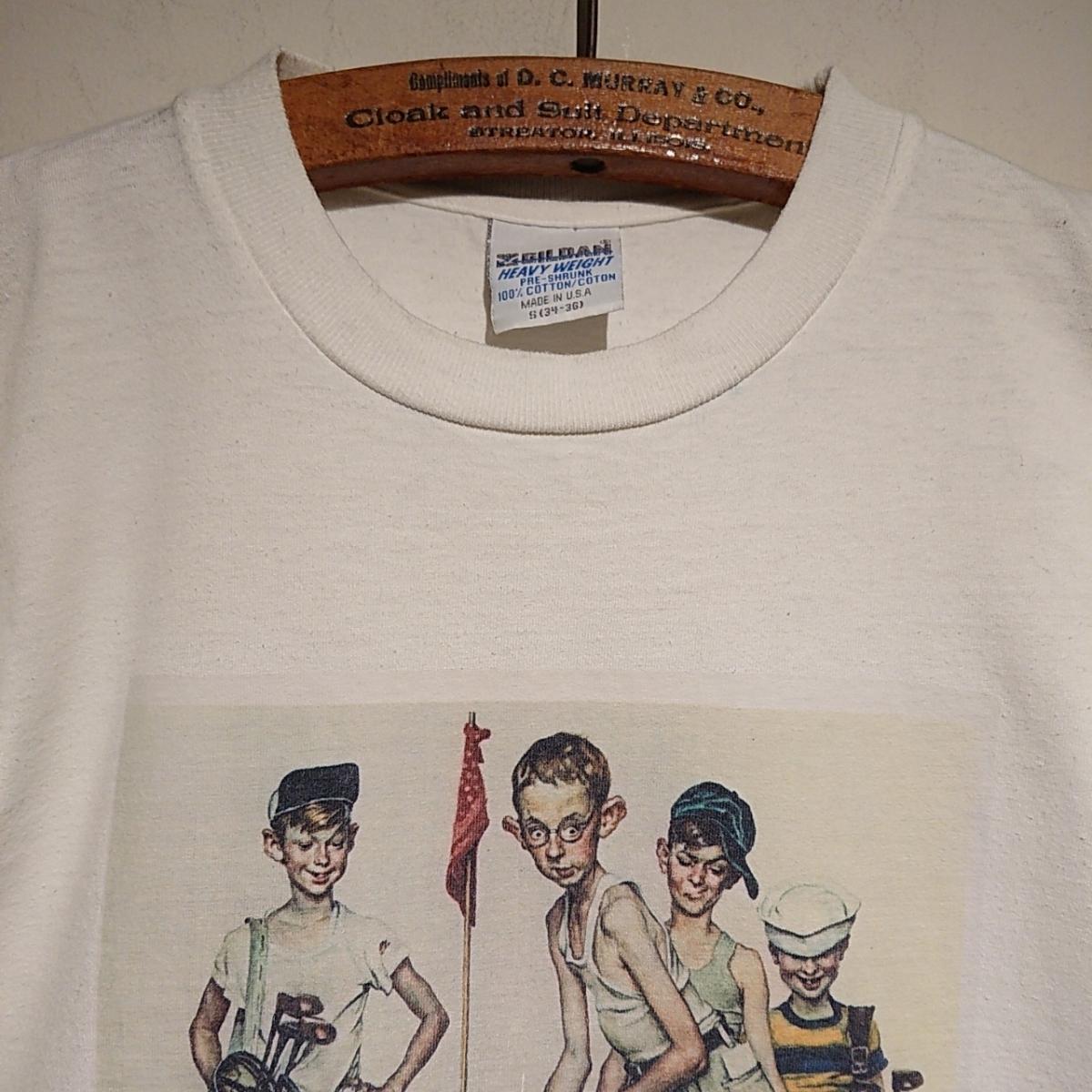 90s ビンテージ NORMAN ROCKWELL ノーマン ロックウェル Tシャツ アート t アメリカ usa 製 白 S プリント 古着_画像7