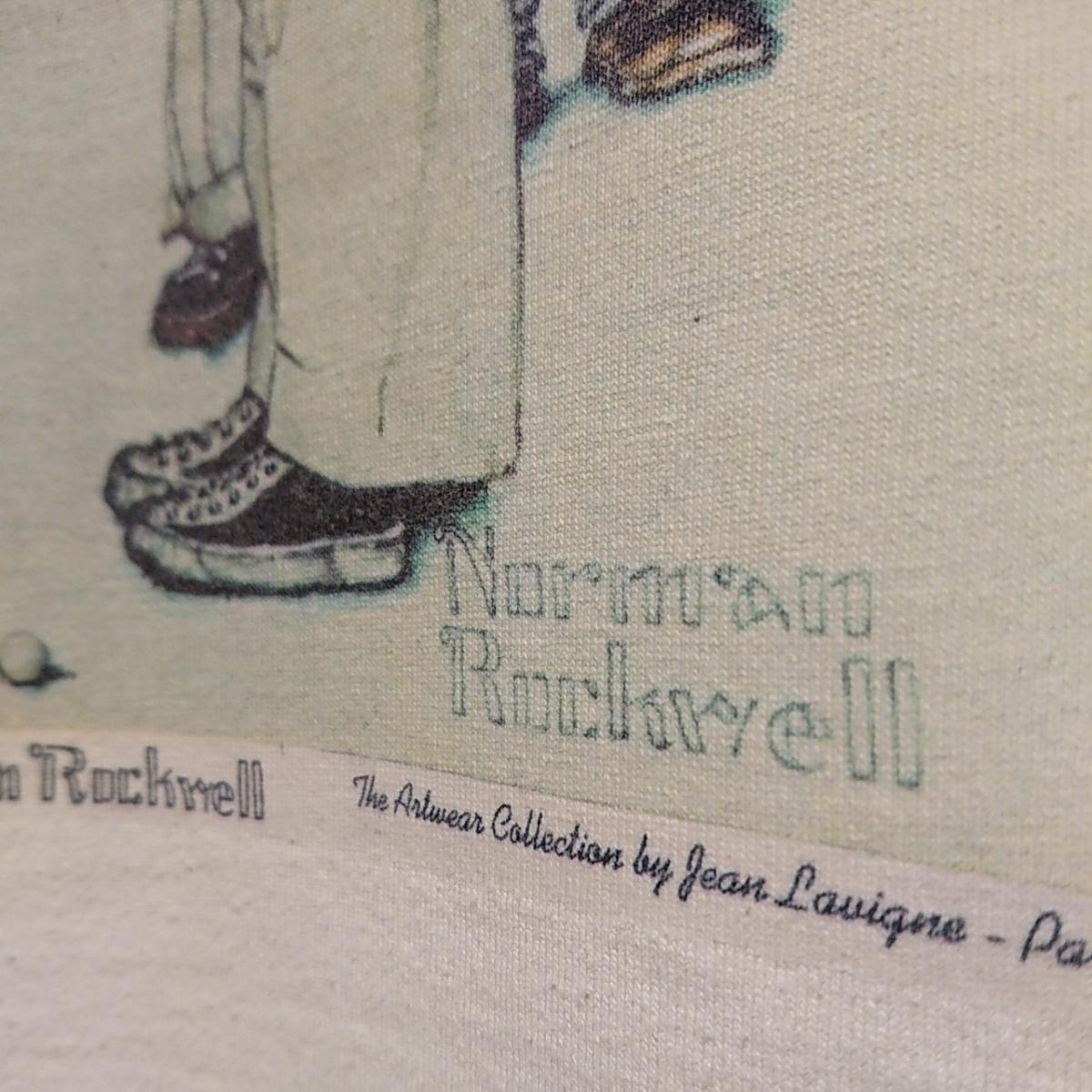 90s ビンテージ NORMAN ROCKWELL ノーマン ロックウェル Tシャツ アート t アメリカ usa 製 白 S プリント 古着_画像6