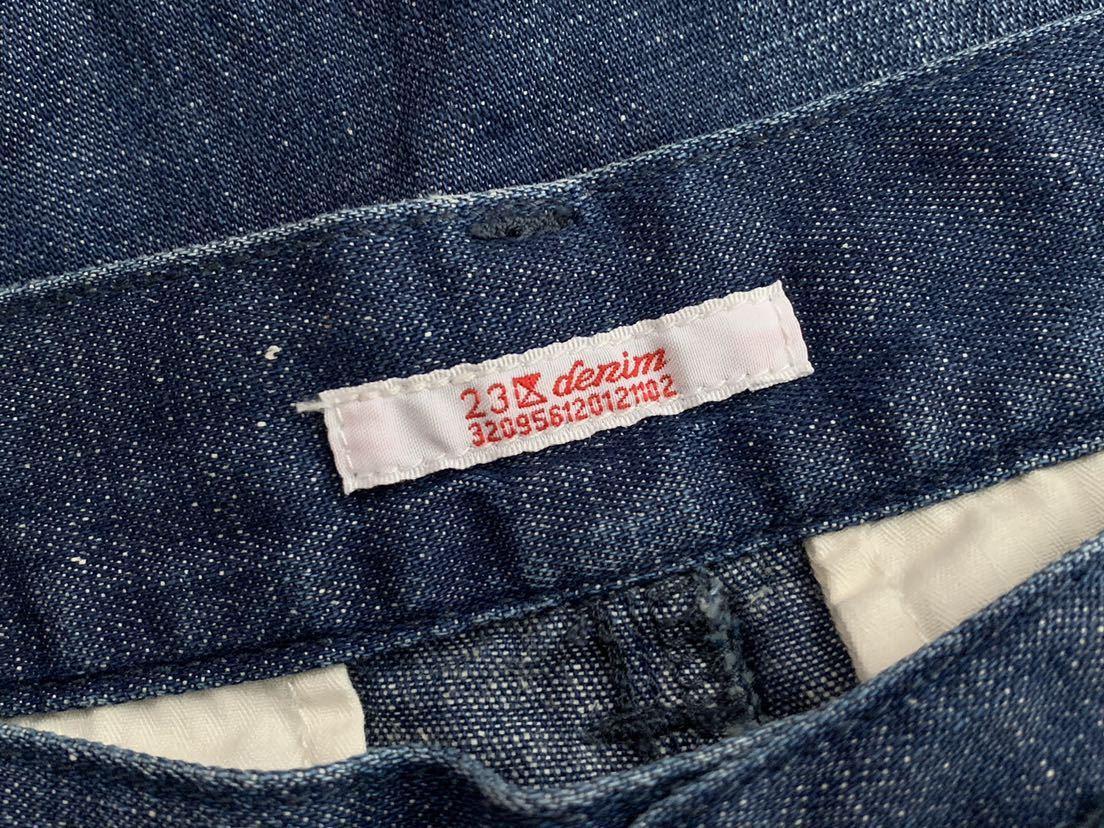 美品 23区 ウォッシュド スラブ デニム ワイド パンツ 40 ニジュウサンク 大きいサイズ_画像8