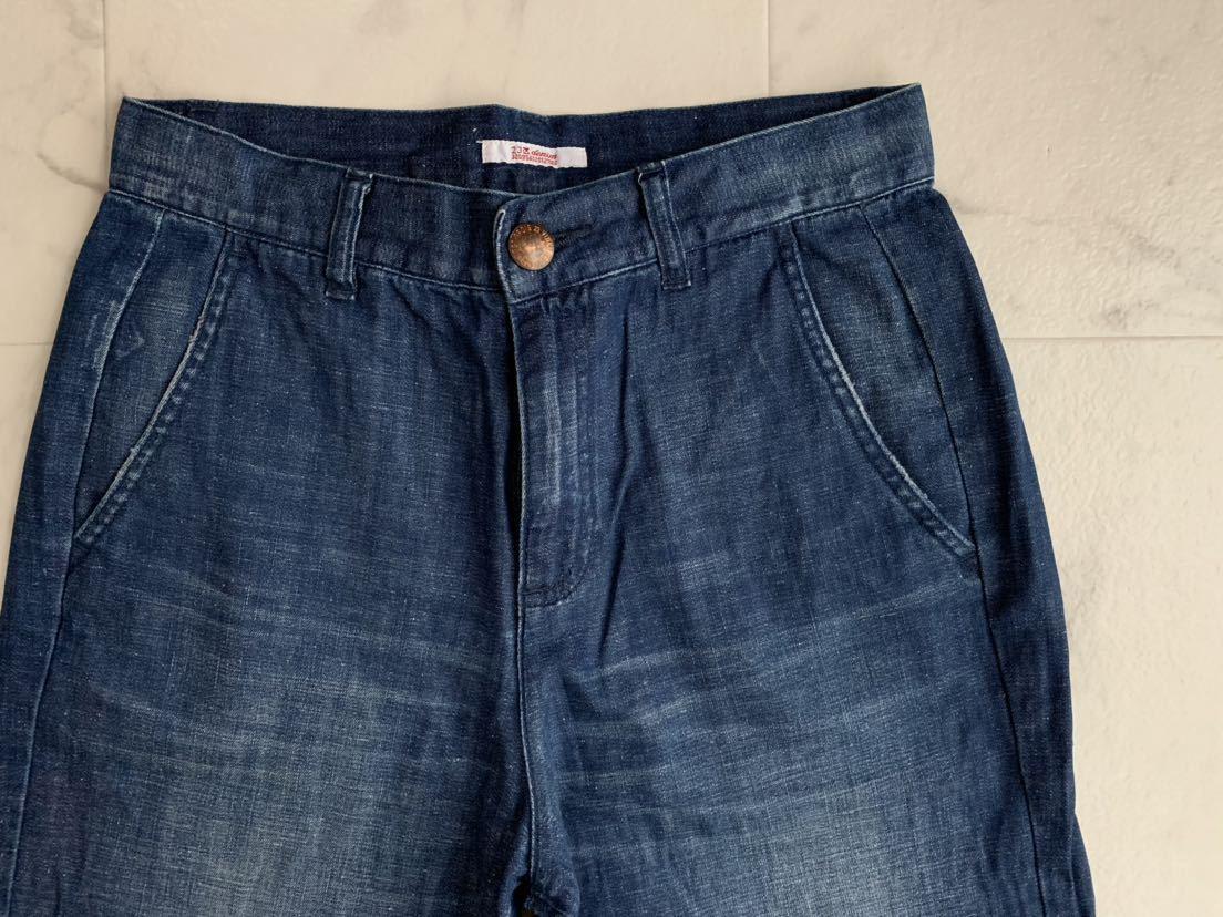 美品 23区 ウォッシュド スラブ デニム ワイド パンツ 40 ニジュウサンク 大きいサイズ_画像6