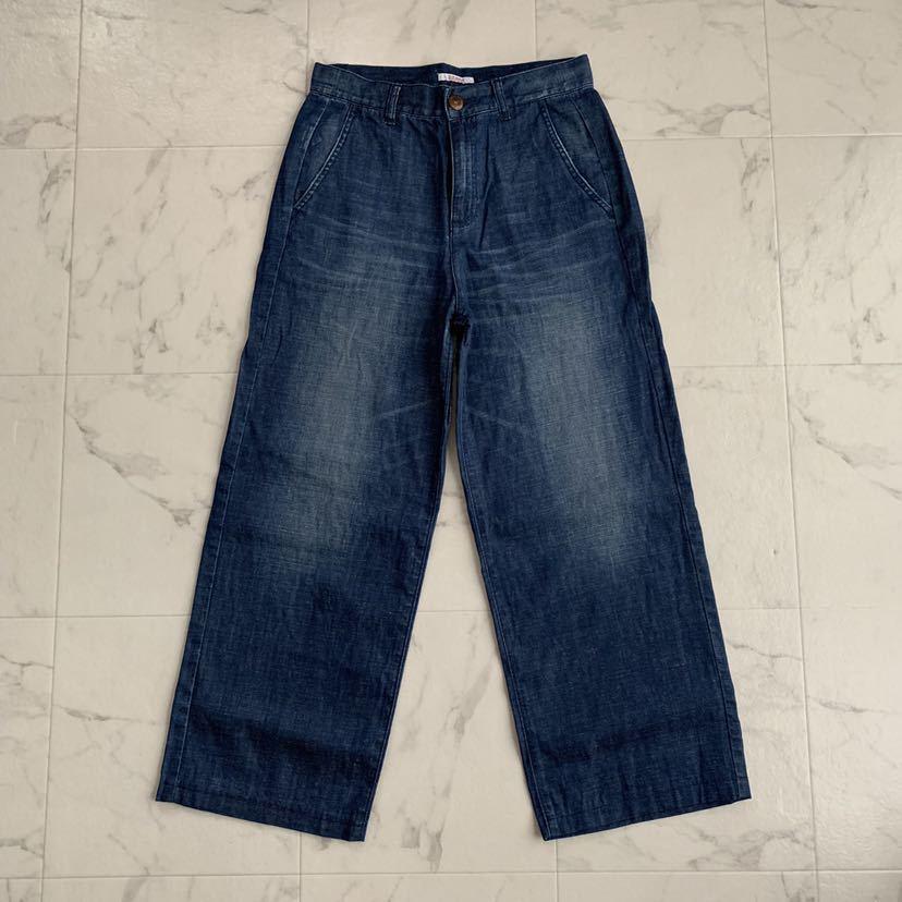 美品 23区 ウォッシュド スラブ デニム ワイド パンツ 40 ニジュウサンク 大きいサイズ
