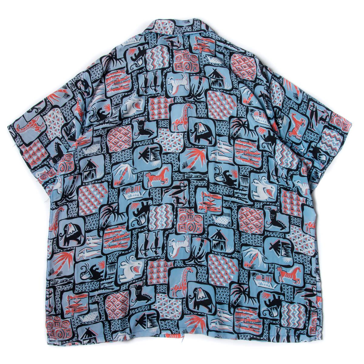 柄良し 50s Marlboro アニマル柄 レーヨン ハワイアン シャツ / ビンテージ アロハシャツ パネル 半袖 総柄 柄 シャツ ロカビリー 40s_画像2