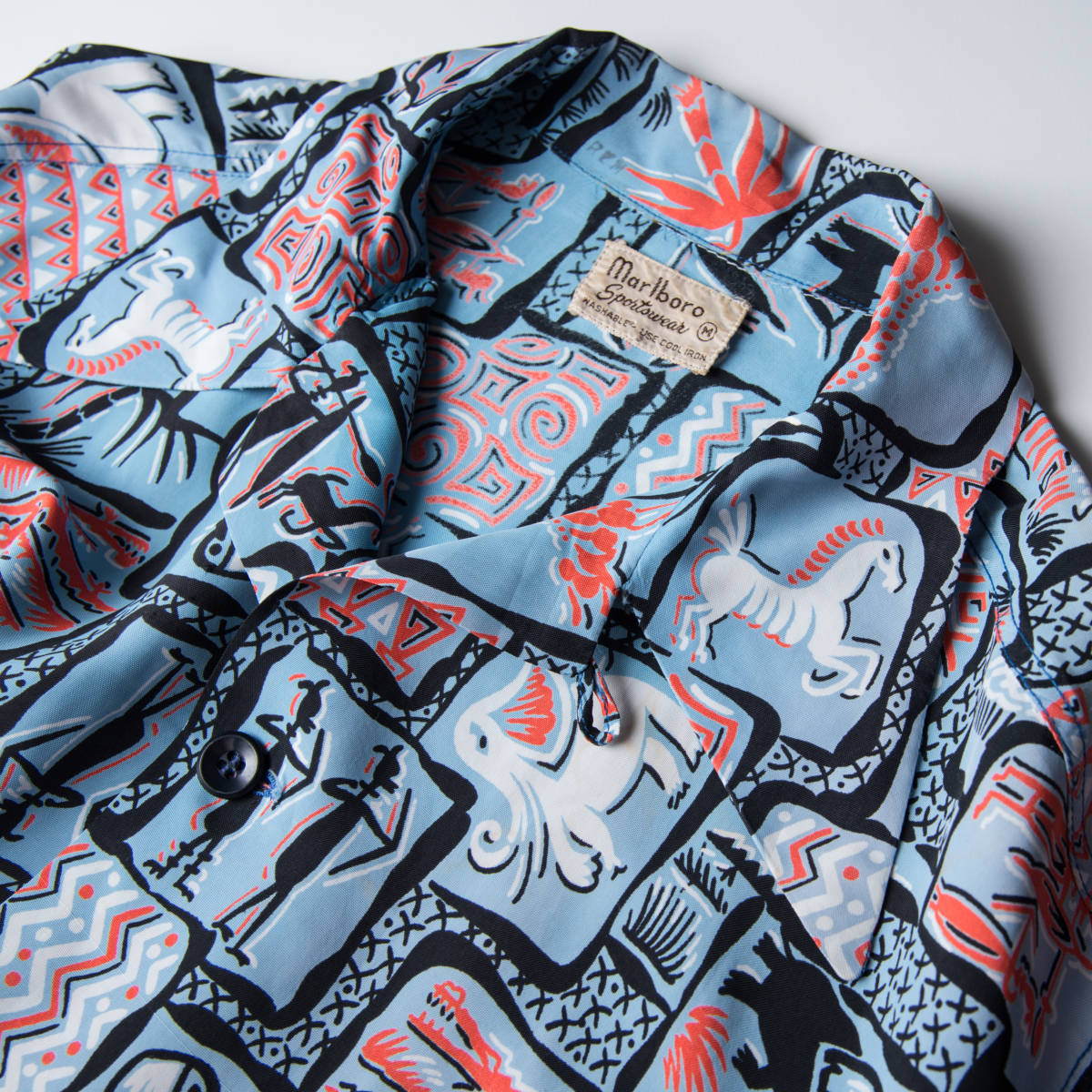 柄良し 50s Marlboro アニマル柄 レーヨン ハワイアン シャツ / ビンテージ アロハシャツ パネル 半袖 総柄 柄 シャツ ロカビリー 40s_画像6