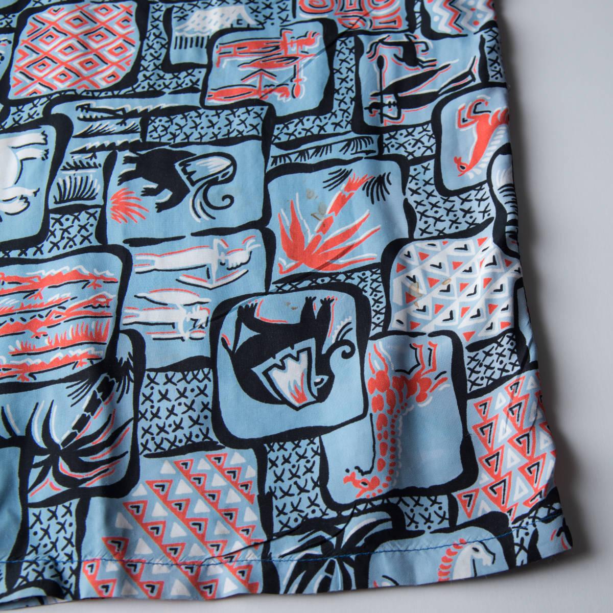 柄良し 50s Marlboro アニマル柄 レーヨン ハワイアン シャツ / ビンテージ アロハシャツ パネル 半袖 総柄 柄 シャツ ロカビリー 40s_画像8