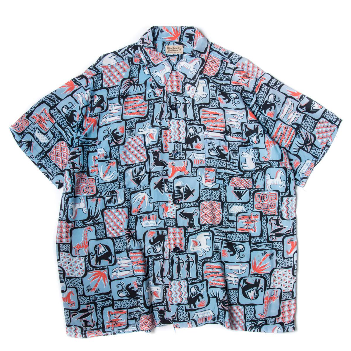 柄良し 50s Marlboro アニマル柄 レーヨン ハワイアン シャツ / ビンテージ アロハシャツ パネル 半袖 総柄 柄 シャツ ロカビリー 40s