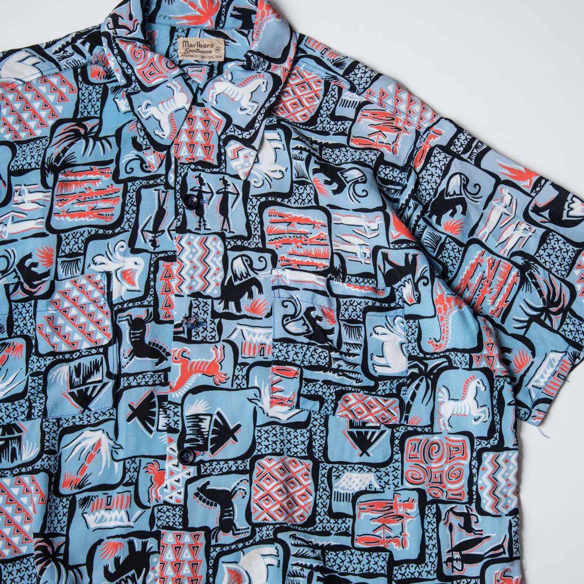 柄良し 50s Marlboro アニマル柄 レーヨン ハワイアン シャツ / ビンテージ アロハシャツ パネル 半袖 総柄 柄 シャツ ロカビリー 40s_画像3