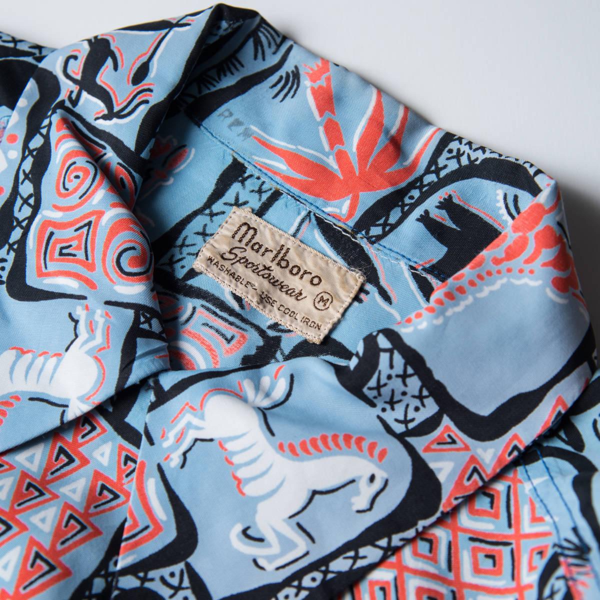 柄良し 50s Marlboro アニマル柄 レーヨン ハワイアン シャツ / ビンテージ アロハシャツ パネル 半袖 総柄 柄 シャツ ロカビリー 40s_画像7